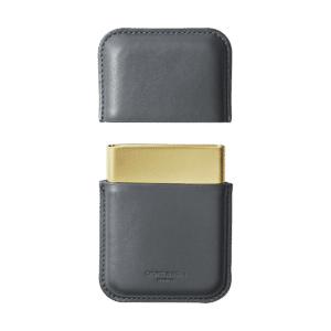 GJ Georg Jensen ROHNER-BUISNESS-CARD-HOLDER-GREY-LEATHER-PVD-PLATED-STAINLESS-STEEL